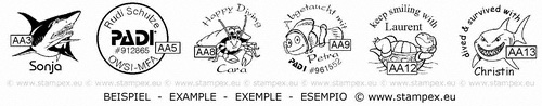 20mm examples of dive stamps