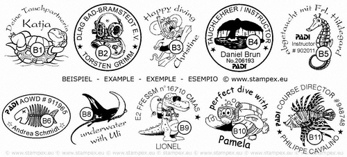 30mm examples of stamps for divers
