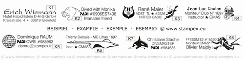 35x9mm examples of pen stamps for divers