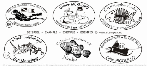 45x30mm examples of oval dive stamps
