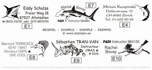 48x18mm examples of scuba diving logbook stamps