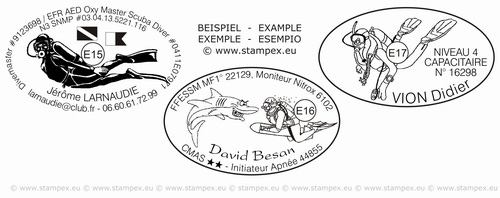 55x35mm examples of oval scuba dive stamps