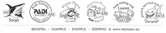 20mm Examples of scuba dive log book stamps