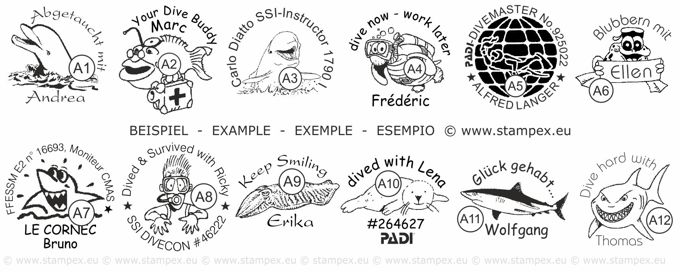 25mm Examples of scuba dive log book stamps