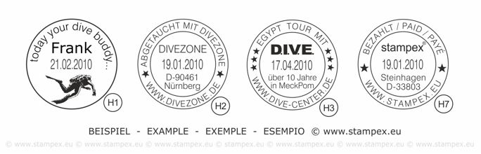30mm Dater Examples of scuba dive log book stamps