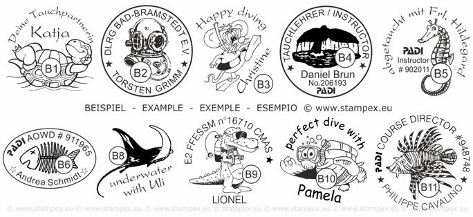 30mm Examples of scuba dive log book stamps