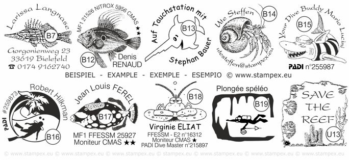 30x30mm Examples of scuba dive log book stamps