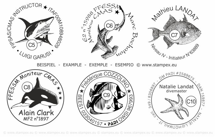 40mm Examples of scuba dive log book stamps
