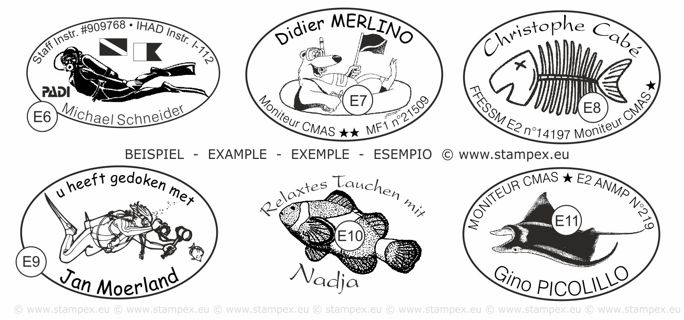 45x30mm Examples of scuba dive log book stamps