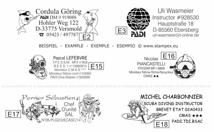 58x22mm Examples of scuba dive log book stamps